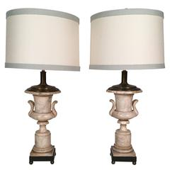 Pair of Italian Neoclassical Style Alabaster Urn Lamps