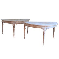 French Pair of Large Demilune Console Tables in Original Paint, 19th Century