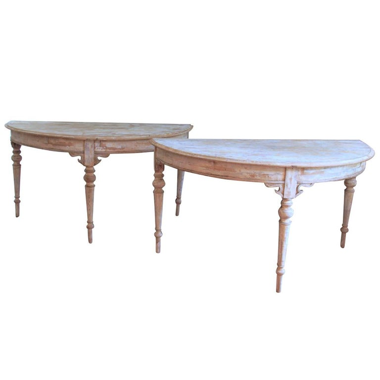 French Pair of Large Demilune Console Tables in Original Paint, 19th Century For Sale