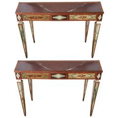 19th Century Pair of Italian Marble Consoles