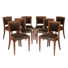 "Set of Eight Chairs ""Bridge"" by Dominique, circa 1924-1926"