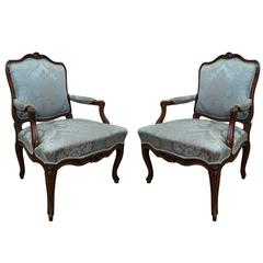 Pair of Louis XV Fauteuils a la Reine