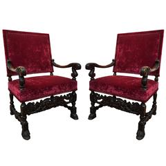 Pair of French Louis XIV Fauteuils