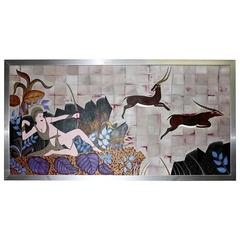"""Huge Oil on Canvas Art Deco Style """"Diana the Huntress,"""" circa 1960s"""
