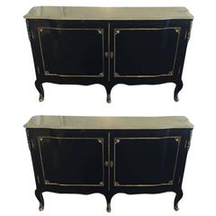 Pair of Palatial Marble-Top or Commodes with Bronze Mounts attrib to Jansen