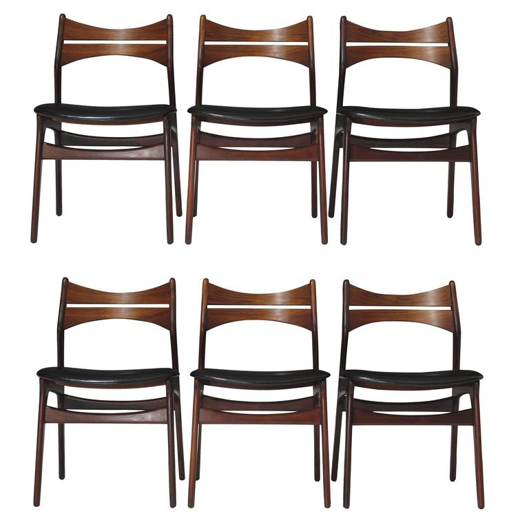 6 erik buck danish rosewood dining chairs for sale at 1stdibs