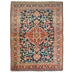 Antique Persian Heriz Throw Rug