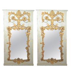 18th Century Pair of Mirrors Made with Venetian Metal Elements