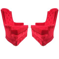 Pair Art Deco Tufted Back Lounge Chairs