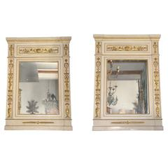 Large Pair of Parcel-Gilt and Ivory Paint Trumeau Mirrors