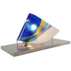 Huge Fused Glass Table Lamp Art Piece  on Stainless Steel Base , USA , 1980s