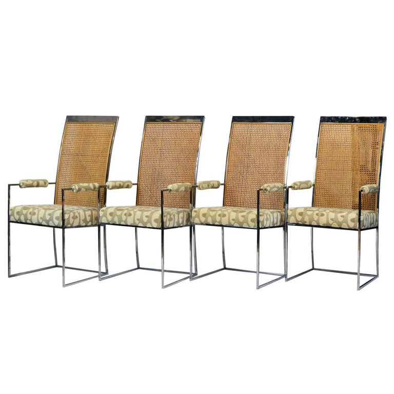 Set of Four Milo Baughman for Thayer Coggins Chrome and Cane Dining Arm Chairs