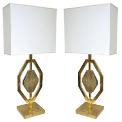 Italian Design Contemporary Pair of Cast Bronze and Gold Brass Geometric Lamps