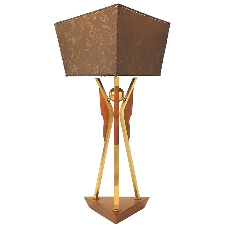 1950s Brass and Walnut Table Lamp , USA