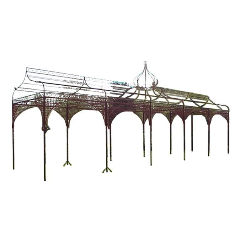 Mid-Victorian Hand Wrought and Cast Iron Pergola or Decorative Garden Structure