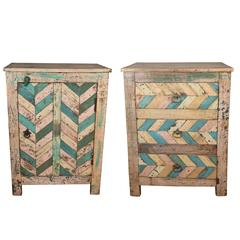 Pair of Reclaimed Wood Side Tables with Original Paint