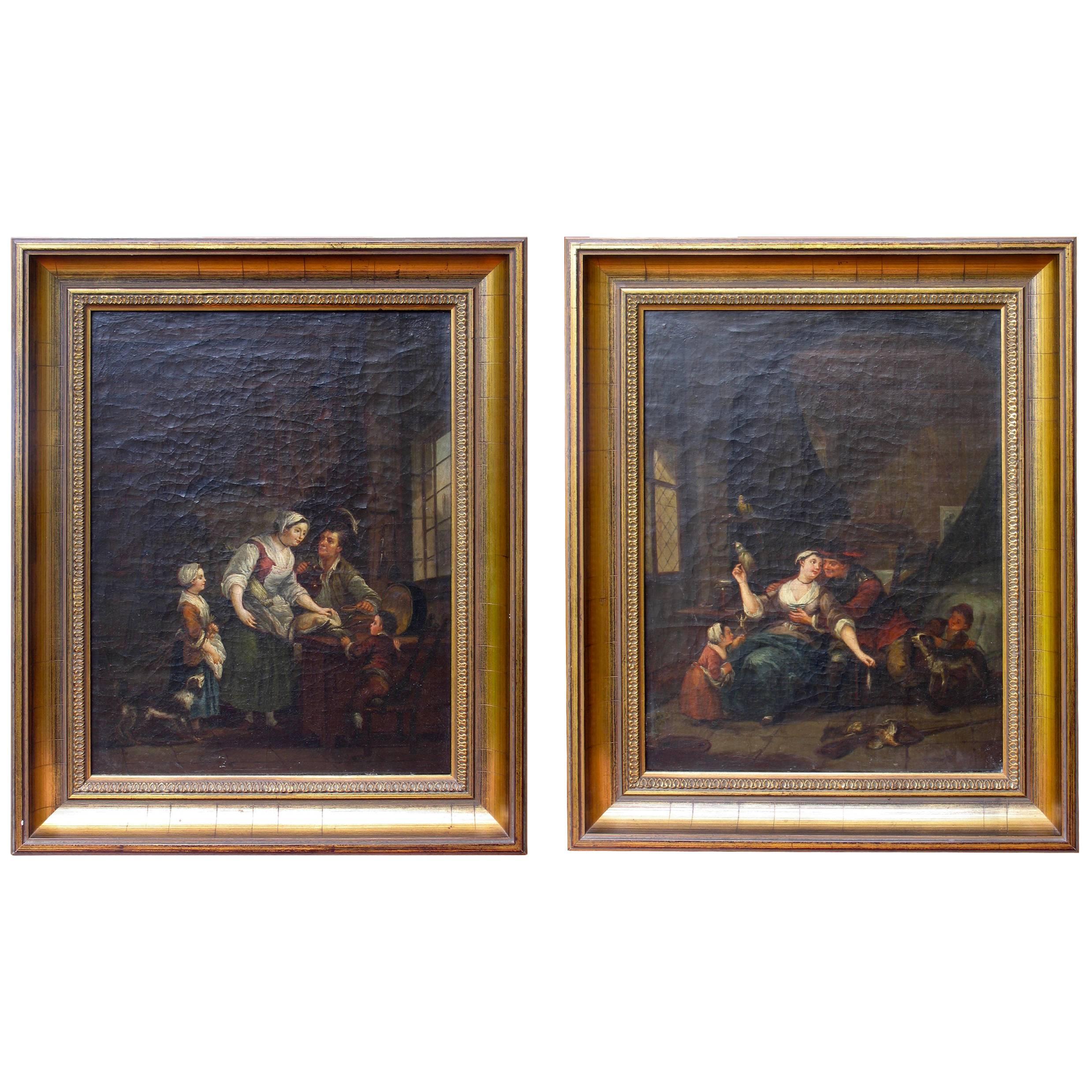 Pair of 18th Century Interiors