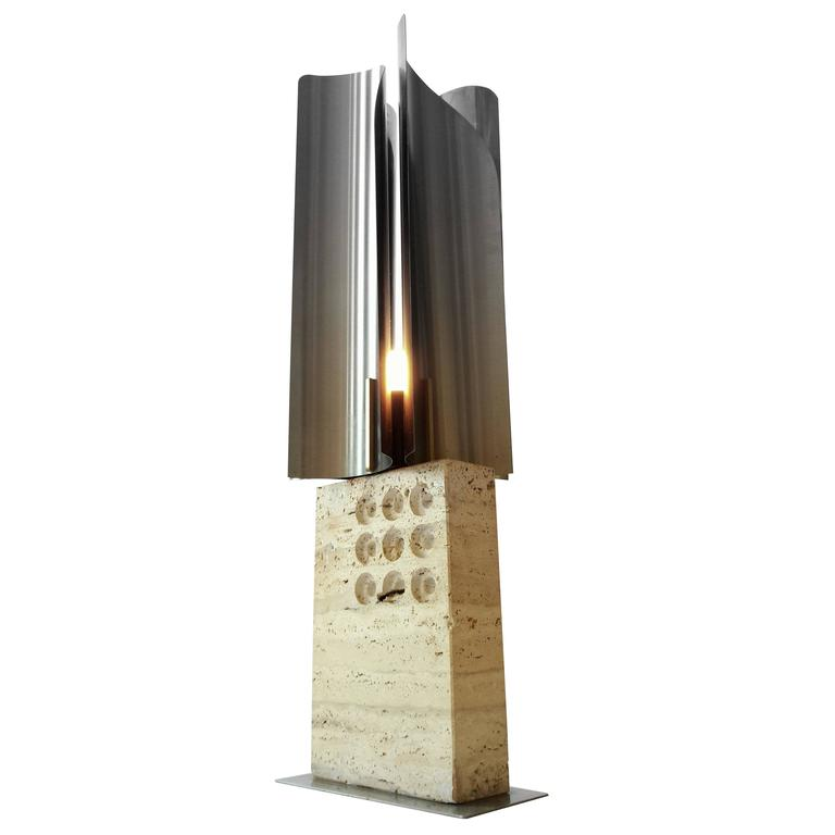 Reggiani Travertine U0026 Stainless Steel Table Lamp Mid Century Modern 1960s,  Italy For Sale