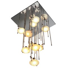Rare Lightolier Ten Light Halogen  Flush Mount Chandelier ,1980s, USA