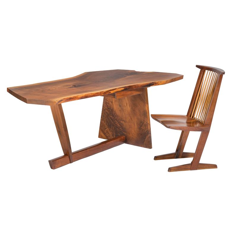 Important George Nakashima Conoid Desk and Chair