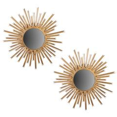 Pair of Large Brass Sunburst Mirrors with Back Lighting
