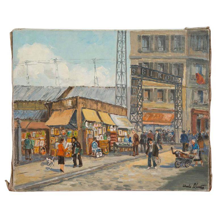 Charles Blondin Painting, The Entry of Biron Market at Clignancourt Flea Market