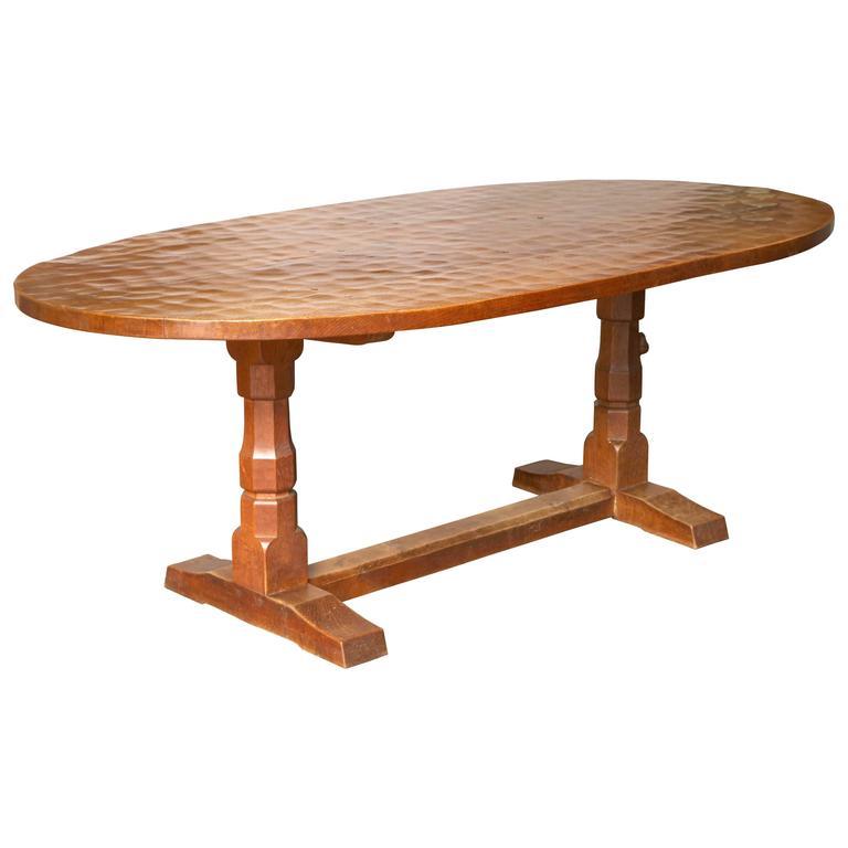 "Robert ""Mouseman"" Thompson Oval Table at 1stdibs"