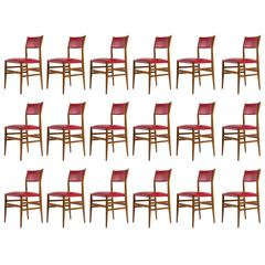"Rare Set of 18 ""Leggera"" Chairs by Gio Ponti for Cassina"