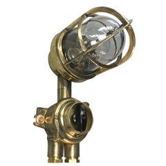 1970's German Brass Wall Lamp with Glass Dome & Isolator Switch IP54 Edison Bulb