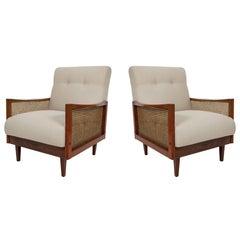Pair of Cane Armchairs in Caviuna