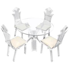 Lucite Four Chairs Table Dinette Set