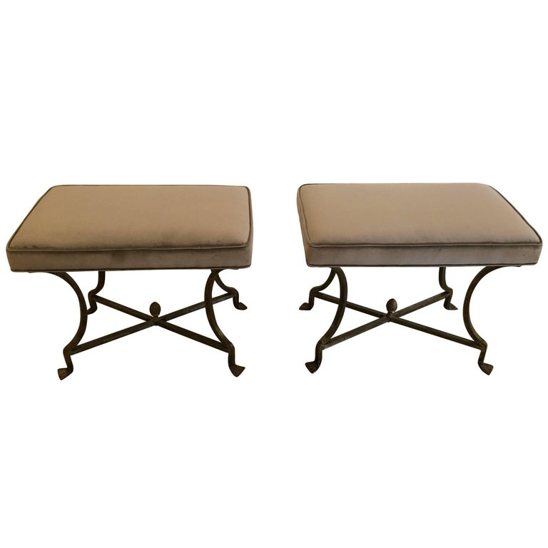 Sleek Pair Of Iron And Upholstered X Benches Ottomans For Sale At 1stdibs