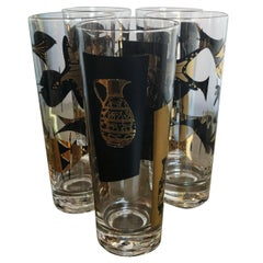 S/5 Mid-Century Modern Edwin Kalla Black and Gold Cocktail Glasses