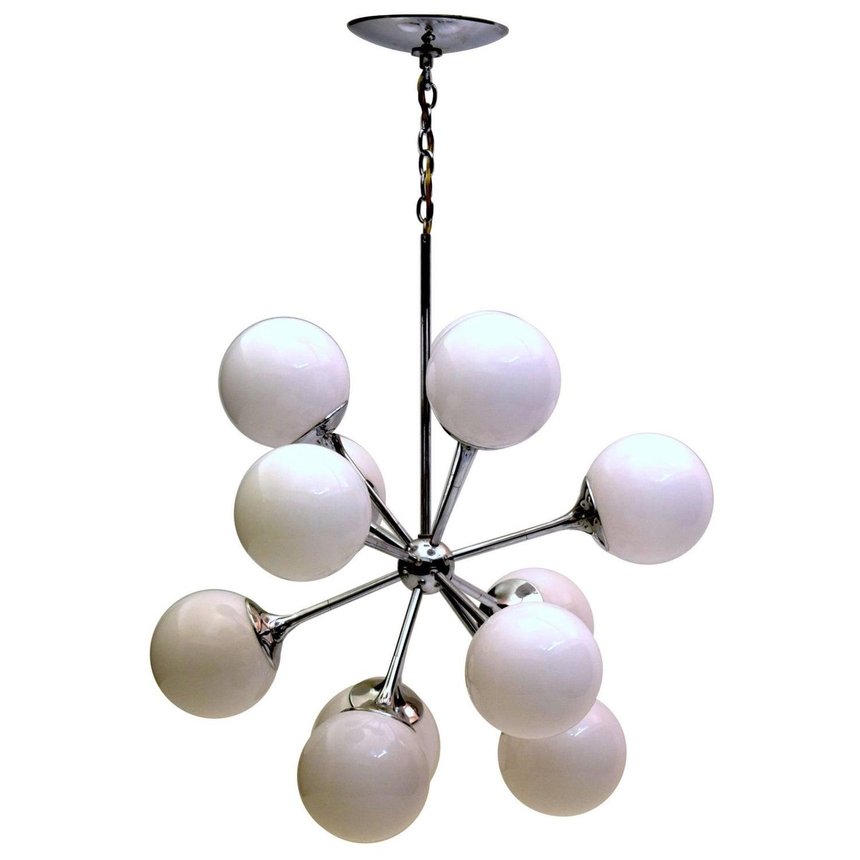 Twelve Light Sputnik Satellite Chandelier Pendant Chrome Glass by