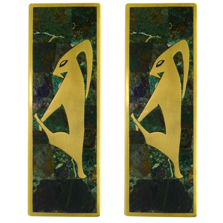 Large Drawer Pulls by Los Castillo in Brass and Inlaid Malachite