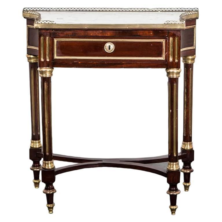 Table Side French Late 18th Century Directoire Mahogany Marble France