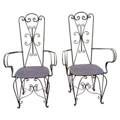French Art Deco Pair of High Back Iron Armchairs, Circa 1940