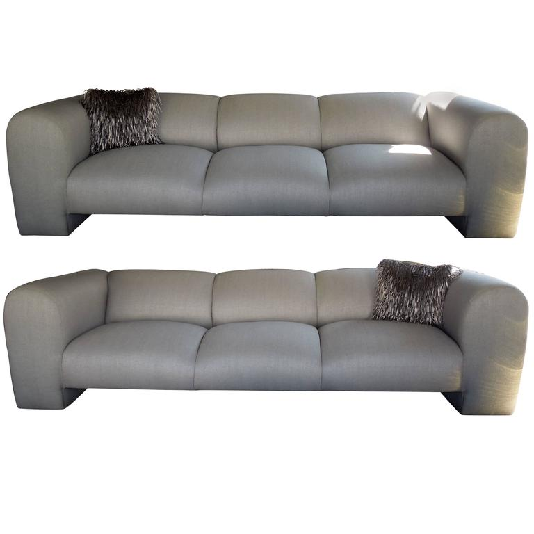 Delicieux Pair Luxe Modern Silver Linen Metallic Sofas Palm Spings Designer Estate  For Sale