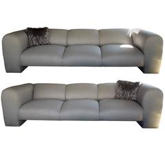 Pair of Modern Luxe Silver Linen Metallic Sofas Palm Spings Designer Estate