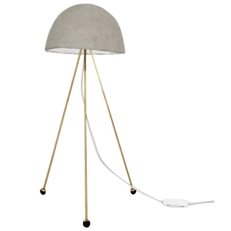 Mini Buddy Desk Lamp with Concrete Noggin and Brass Tripod Legs