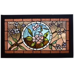 Antique Stained Glass Window with Flower Designs in Ripple Glass in Brown, Green