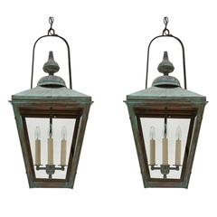 Pair of Patinated Copper Square Lanterns with Four Lights, France, circa 1950