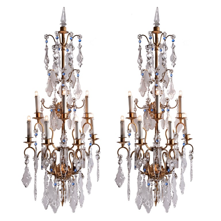 Pair of Large Italian Crystal Sconces Gilt Iron Seven-Light Bagues Style 1940s