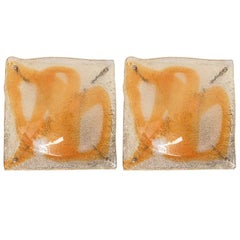 Pair of Italian Murano Amber Square Glass Sconces or Flush Mounts by Mazzega