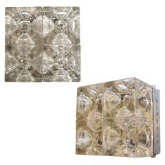 Pair of Italian Murano Cube Glass Sconces or Flush Mounts by Poliarte