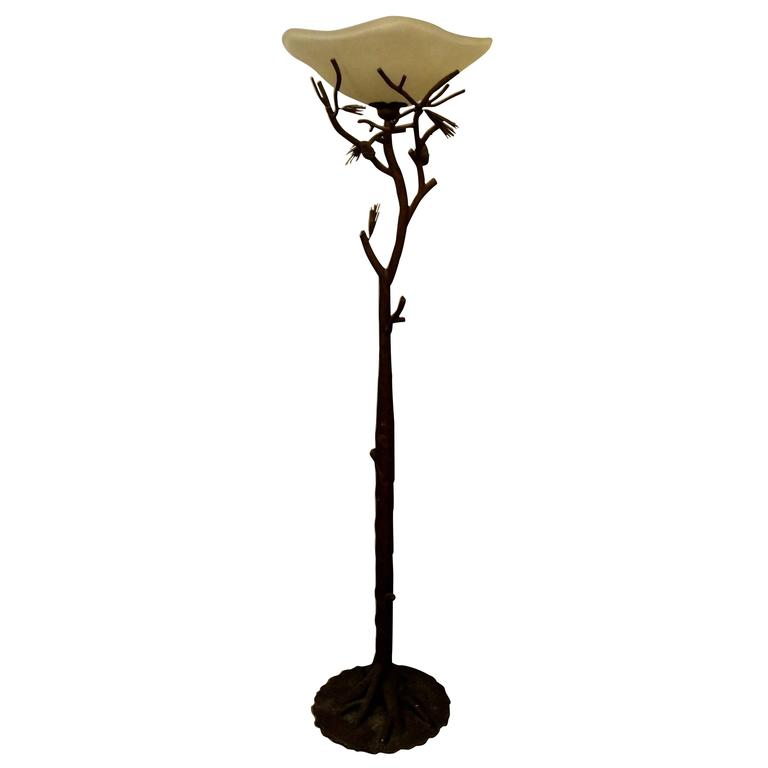Patinated Faux Bois Wrought Iron Torchiere Floor Lamp For ...