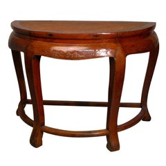 19th Century Chinese Elmwood Demilune Table with Woven Rattan Top