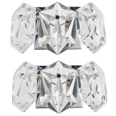 Pair of Petite Faceted Crystal Sconces Designed by Kinkeldey
