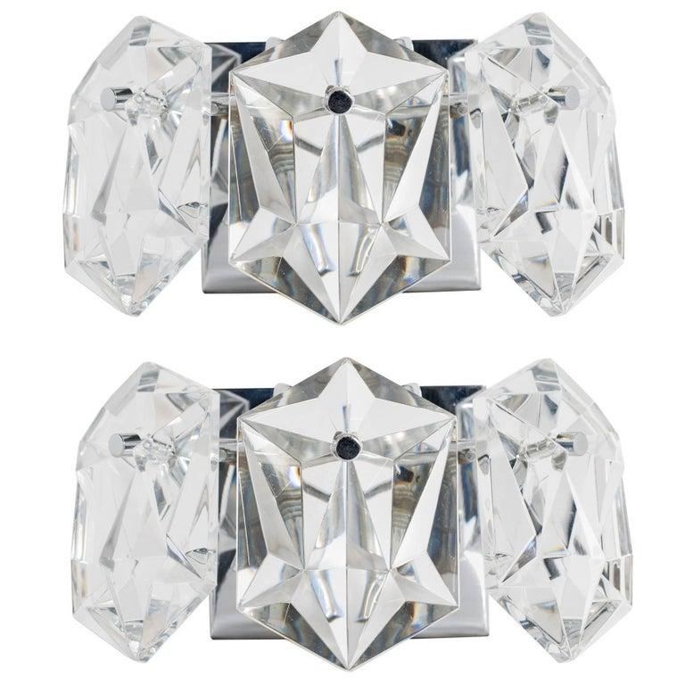 Pair of Petite Faceted Crystal Sconces Designed by Kinkeldey