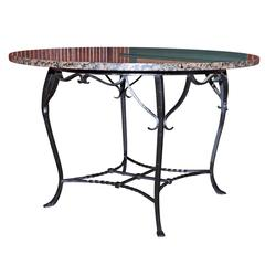 Antique Wrought Iron Granite Top Dining Table